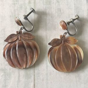 Vintage Pumpkin Earrings - Screw back